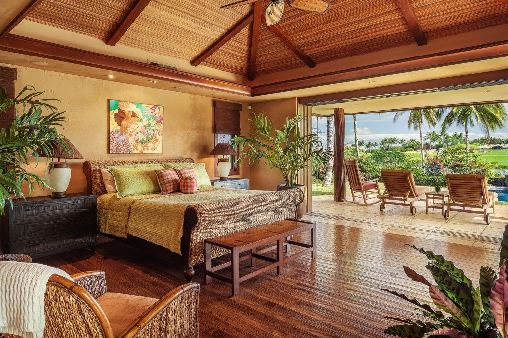 Master Suite with Mahogany Inlaid Ceiling & Honed Teak ...