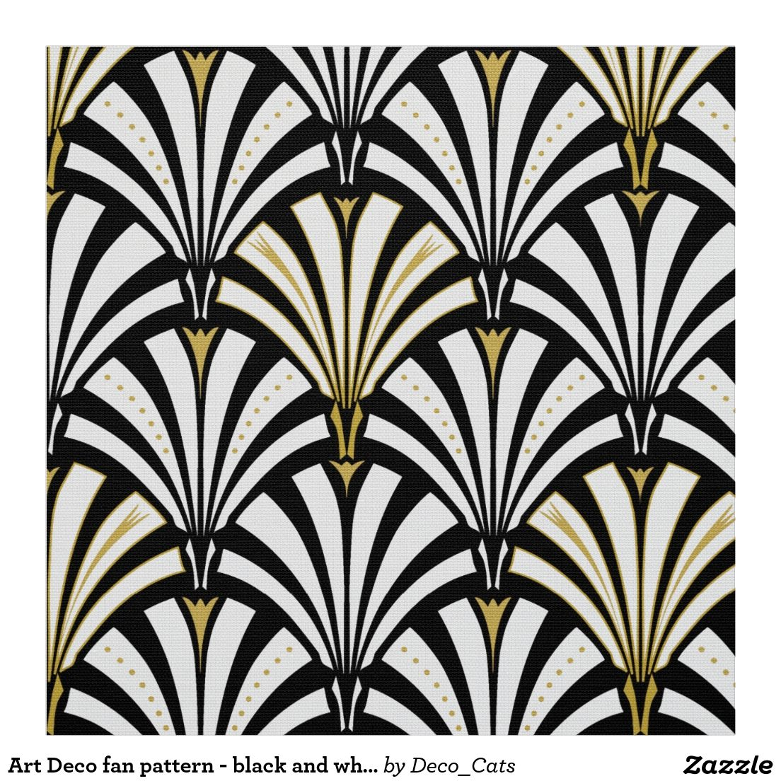 Art Deco fan pattern black and white Fabric White