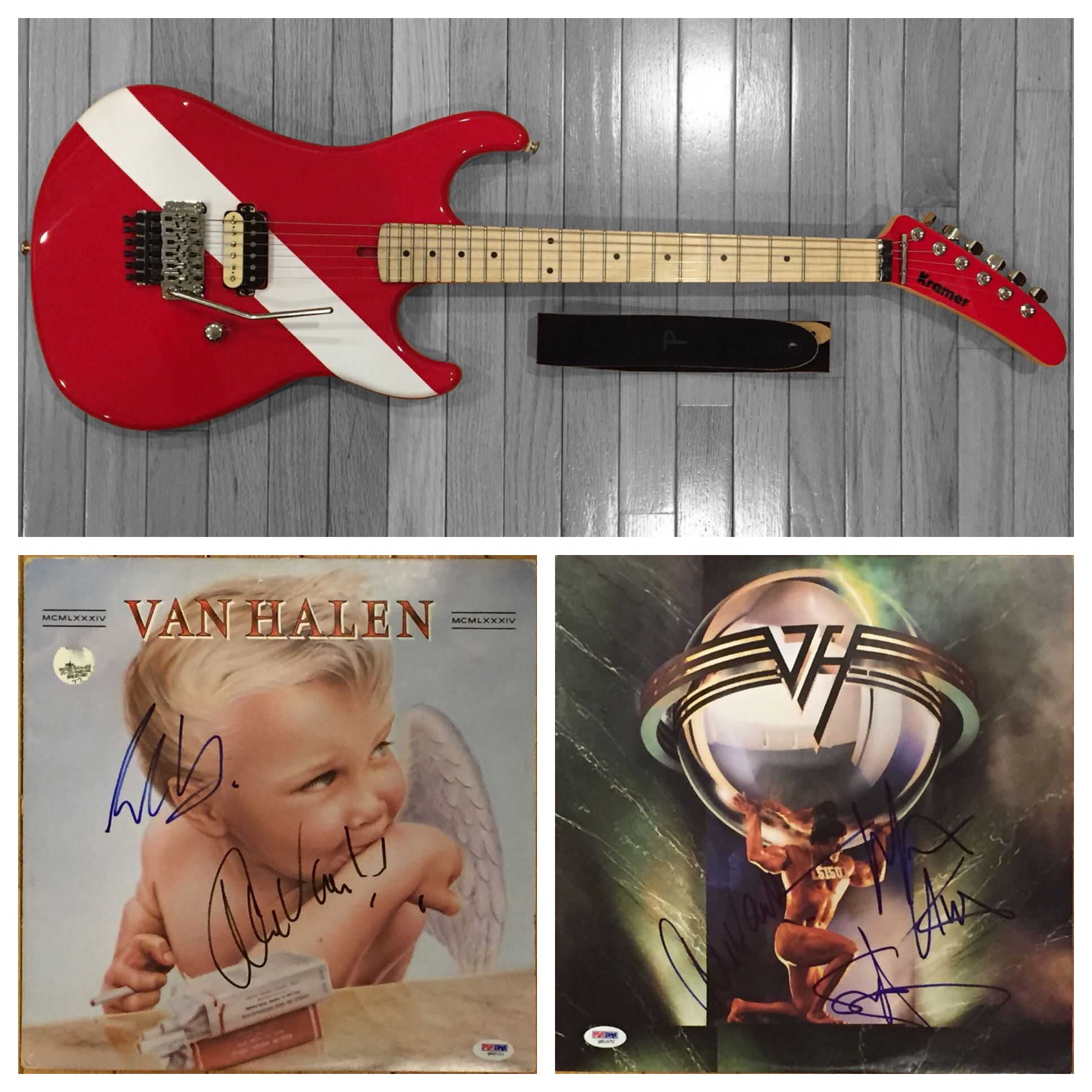 Kramer 84 Baretta Diver Down Electric Guitar With A Signed Copy Of Van Halen S 1984 Album With Alex Eddie Van Halen Signatures And A Signed Copy Of The 5150