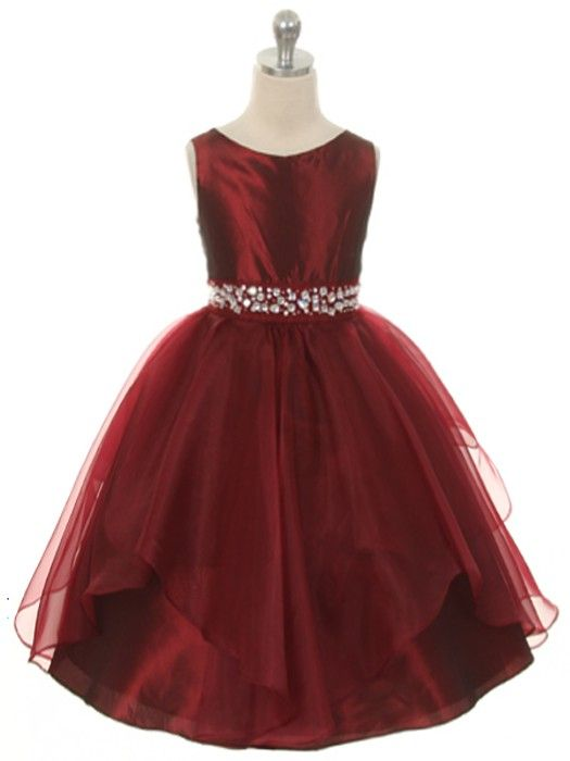 bf22099e8 Burgundy Fabulous Taffeta and Organza Overlay with Rhinestone Waist Flower  Girl Dress (Available in Sizes 2-12 in 7 Colors)