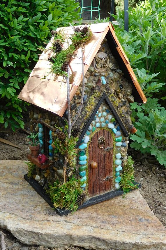Fairy House With Copper Roof/ Fairy Cottage/ Fairy Garden House/The Ou0027