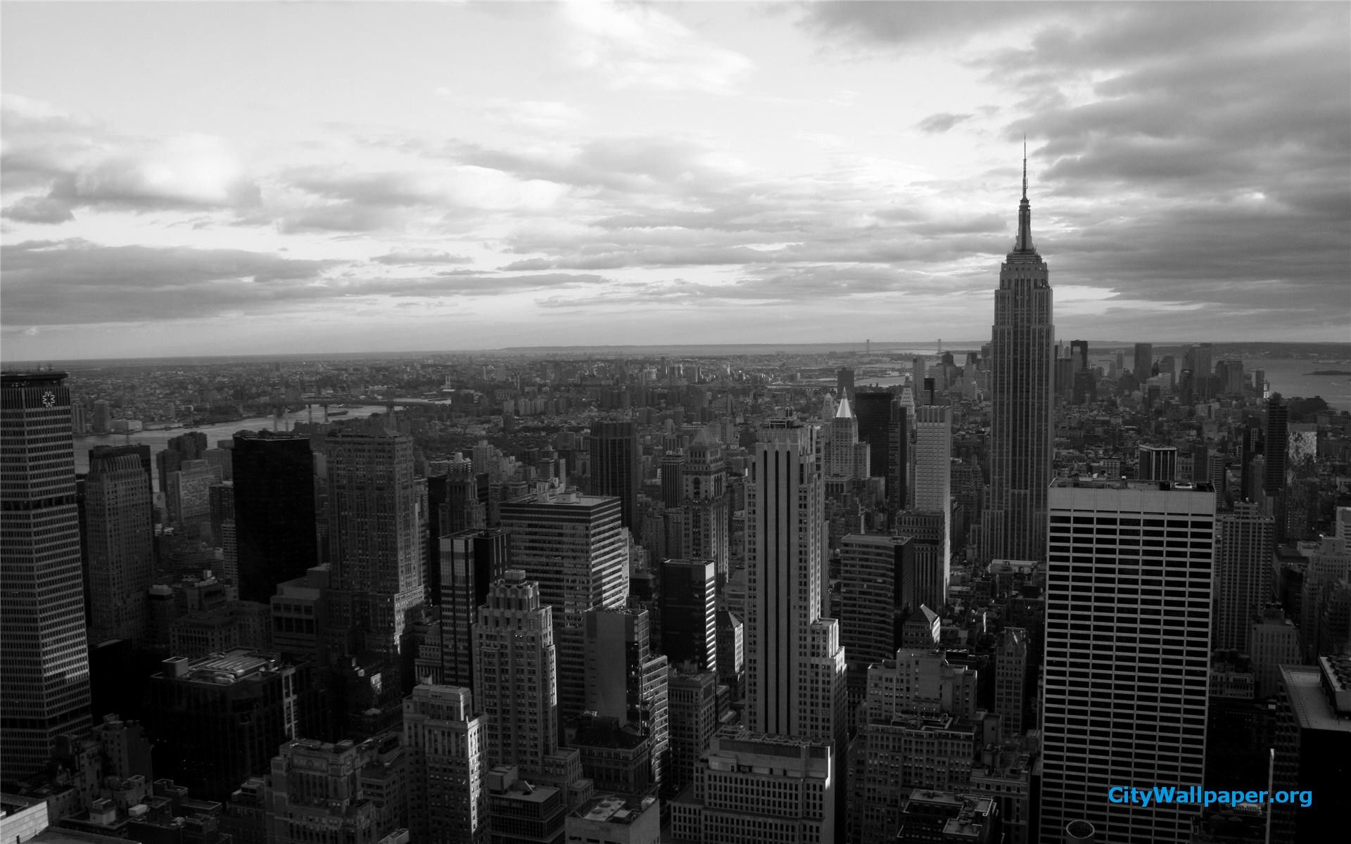 New York Skyline Wallpaper Black And White 1920x1200 New
