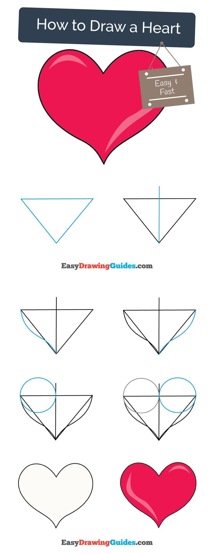 How to Draw a Heart | Drawing tutorials for kids, Easy ...