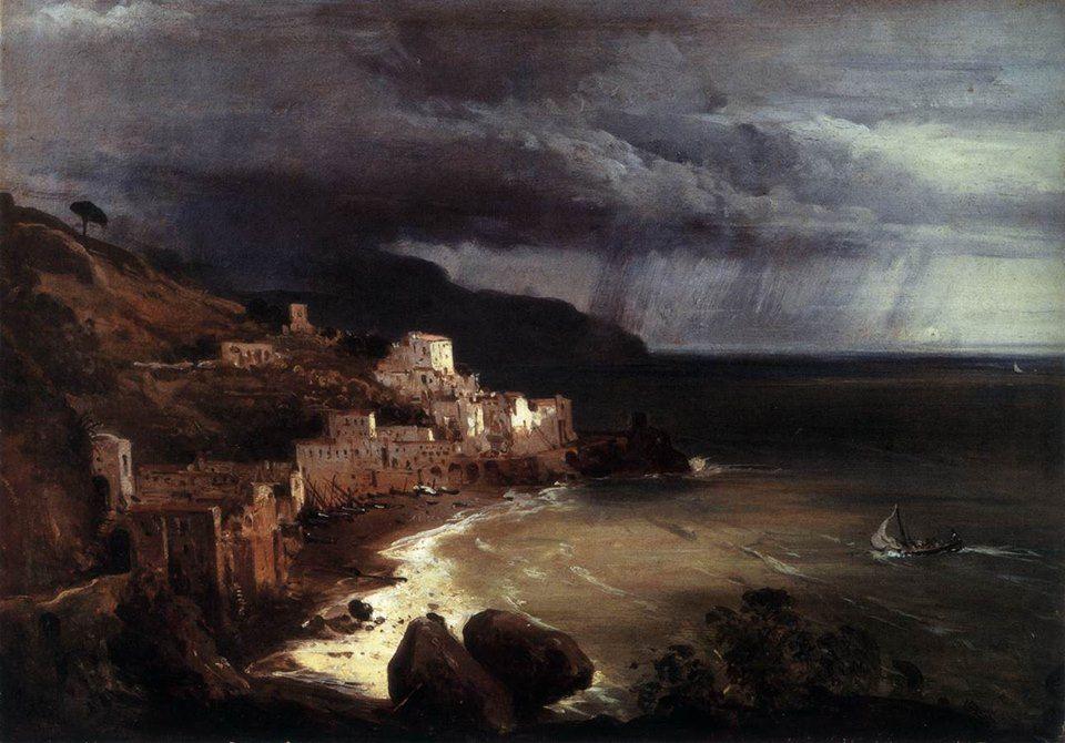 Giacinto Gigante, Tempesta sul golfo di Amalfi (1835 circa). Descrizione completa dell'opera: http://www.finestresullarte.info/operadelgiorno/2014/232-giacinto-gigante-tempesta-sul-golfo-di-amalfi.php