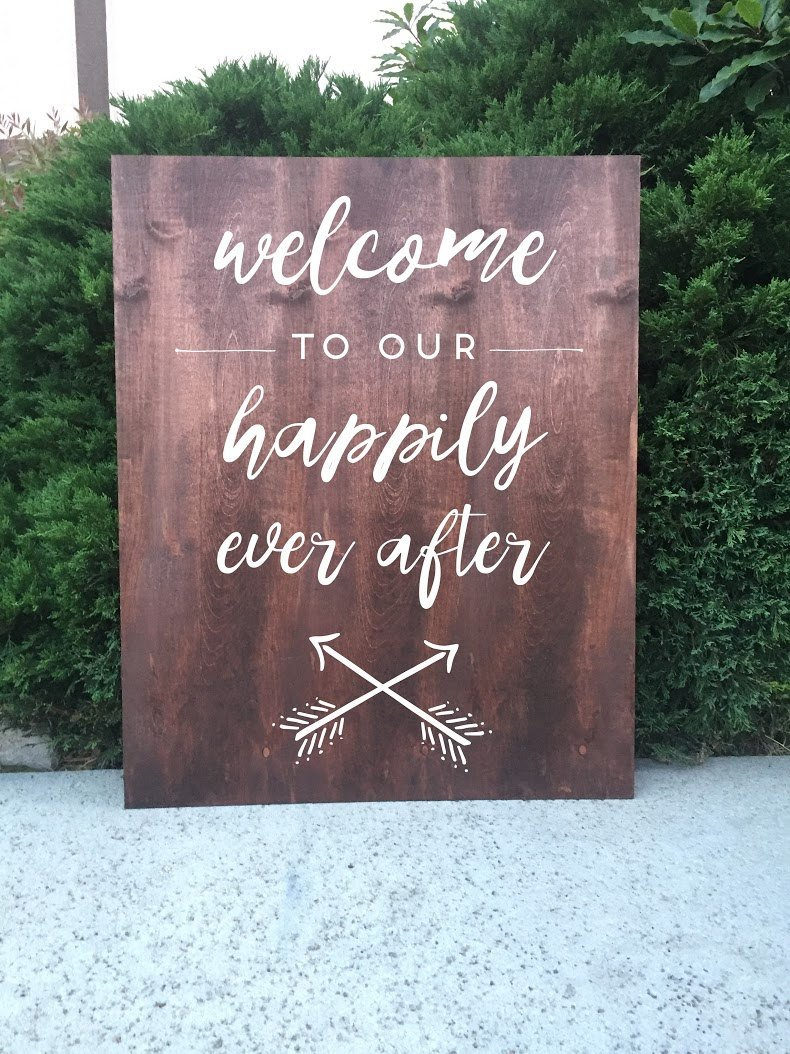 Rustic Wedding Sign To Our Happily Ever After
