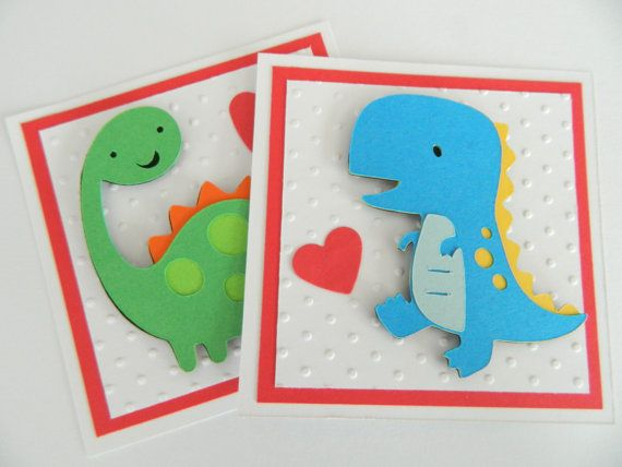 Kids Valentine Cards, Dinosaur Valentine Cards, Handmade Valentine Cards, Valentine's Day