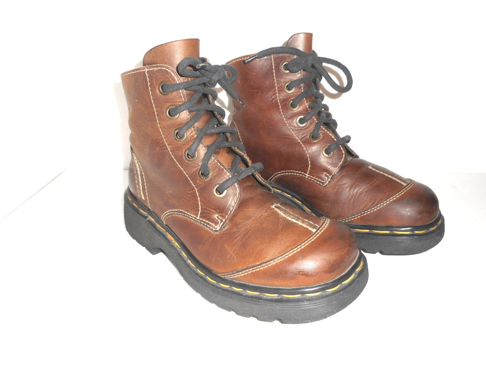 Dr. Martens Size Women's Uk 6 Tan Brown Leather Boots Made In England Us 8