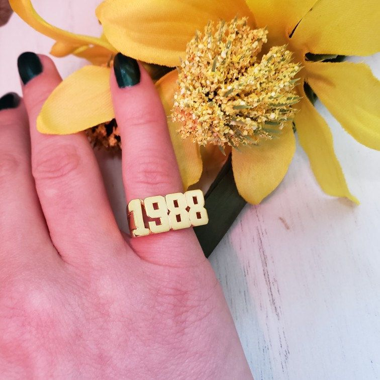 Number Rings Custom Date Ring Man Number Ring Birth Year Ring Date