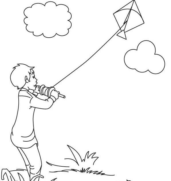 Coloring A Boy Flying Kite Drawing in 2020 (With images ...