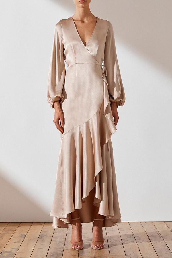 JOAN WRAP MIDI DRESS - GOLD -   17 dress Wrap crosses ideas