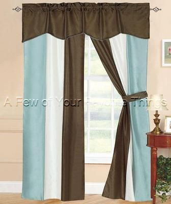 Model Of 5pc aqua blue brown stripe curtain drape set panel valance window treatments New - Amazing blue bedroom curtains Style