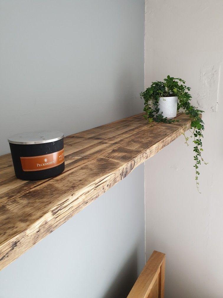 Extra Long Double Reclaimed Scaffold Board Shelf Wood Shelves