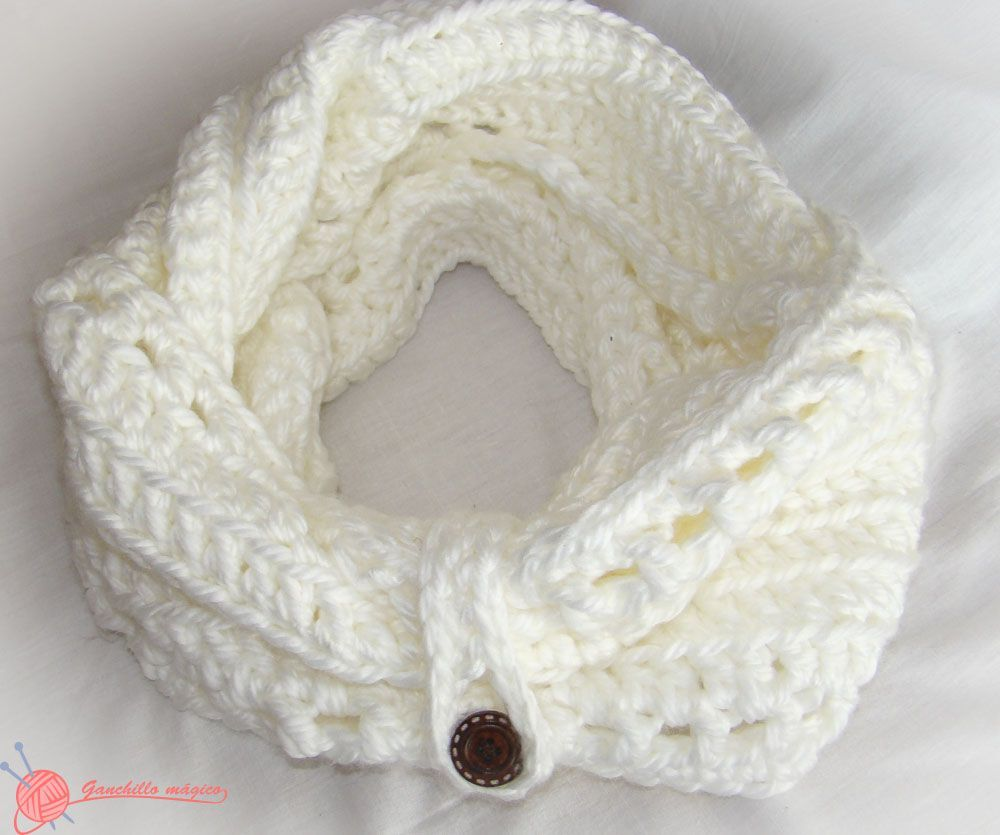 cuello infinito blanco nieve (1) ganchillo | cosas para crear ...