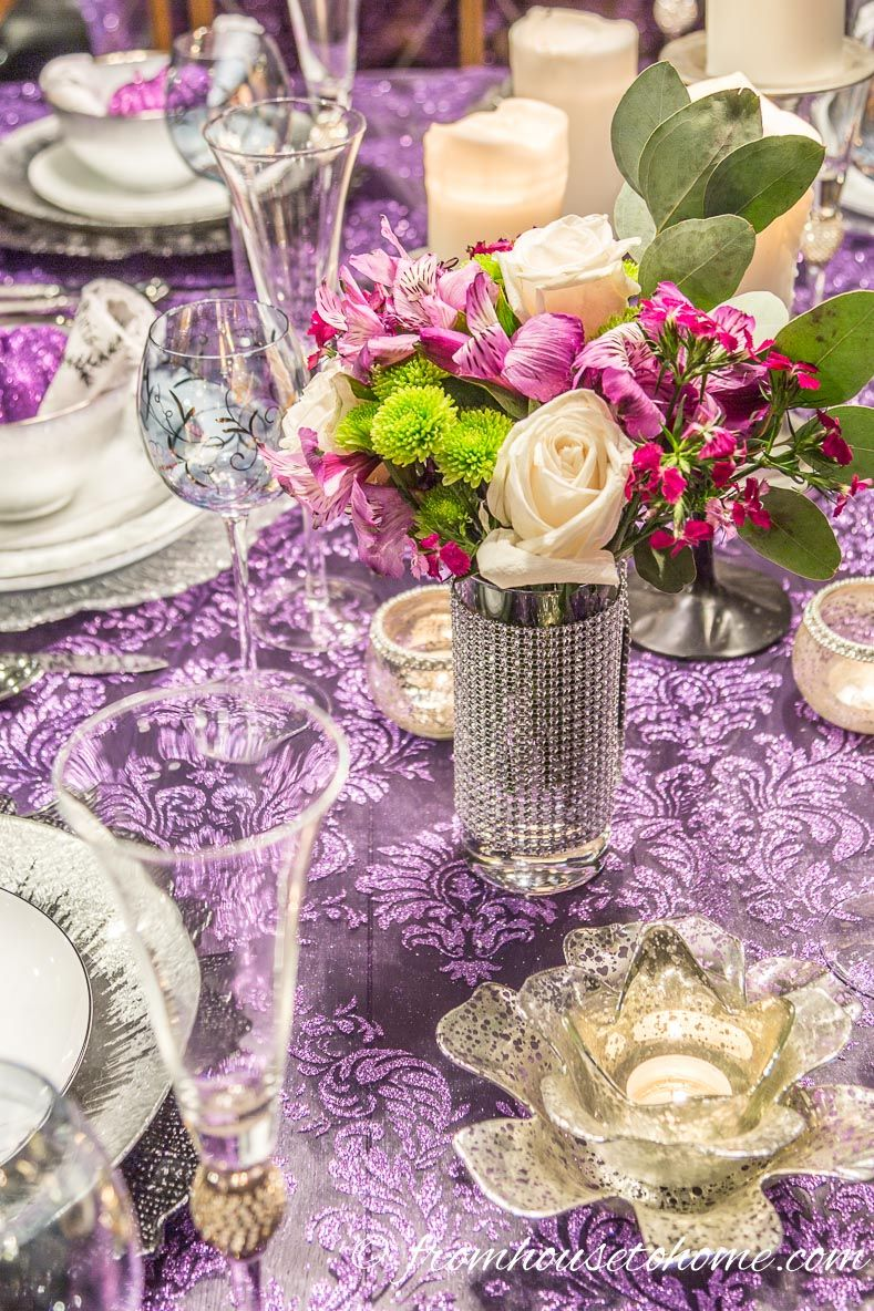 Elegant Purple And Silver Thanksgiving Tablescape With Images Thanksgiving Tablescapes Elegant Thanksgiving Table Settings Thanksgiving Table Decorations