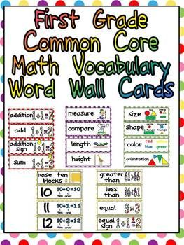 Worksheets Vocabulary For First Grade first grade common core math vocabulary word wall cards cards