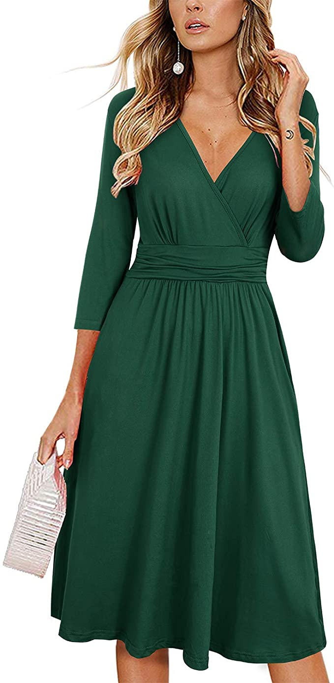 Newshows Women S 3 4 Sleeve V Neck Casual Faux Wrap Party Midi Dress With Pockets Dark Green A Line Wedding Dress With Sleeves Midi Dress Party Elegant Dresses [ 1386 x 679 Pixel ]