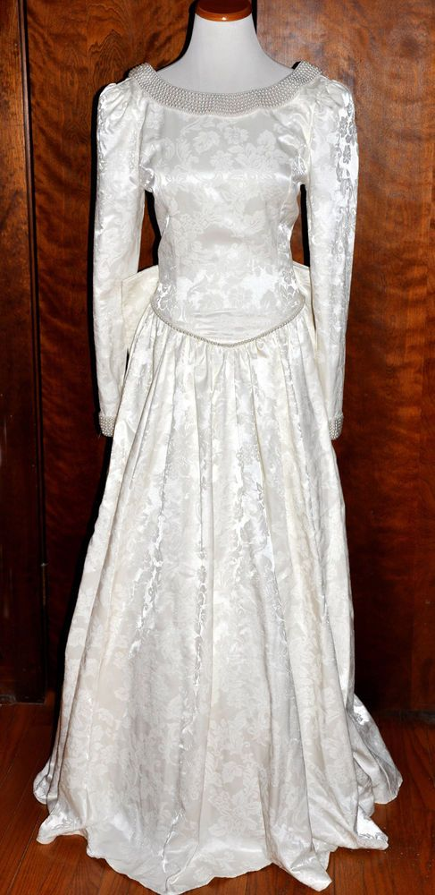 White Vintage Jessica Mcclintock Brocade Wedding Gown Drop Waist Size 9 10 Classic Wedding Gowns Vintage Gowns Bride Gowns