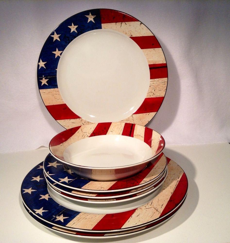 Warren Kimble Sakura Oneida Colonial Stars Stripes American Flag Dinnerware 7 pc & Warren Kimble Sakura Oneida Colonial Stars Stripes American Flag ...