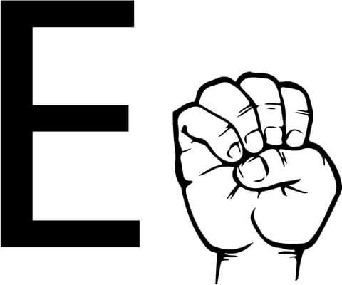 ASL Sign Language Letter E coloring page from ASL Alphabet