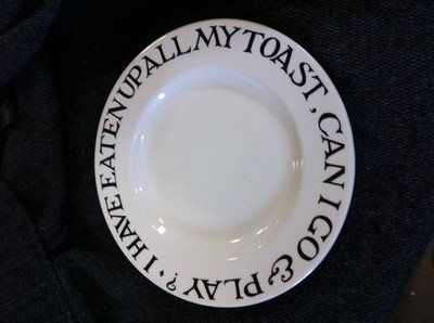 Emma Bridgewater Toast & Marmalade 10.5 inch Plate I HAVE EATEN UP ALL MY TOAST, CAN I GO & PLAY?