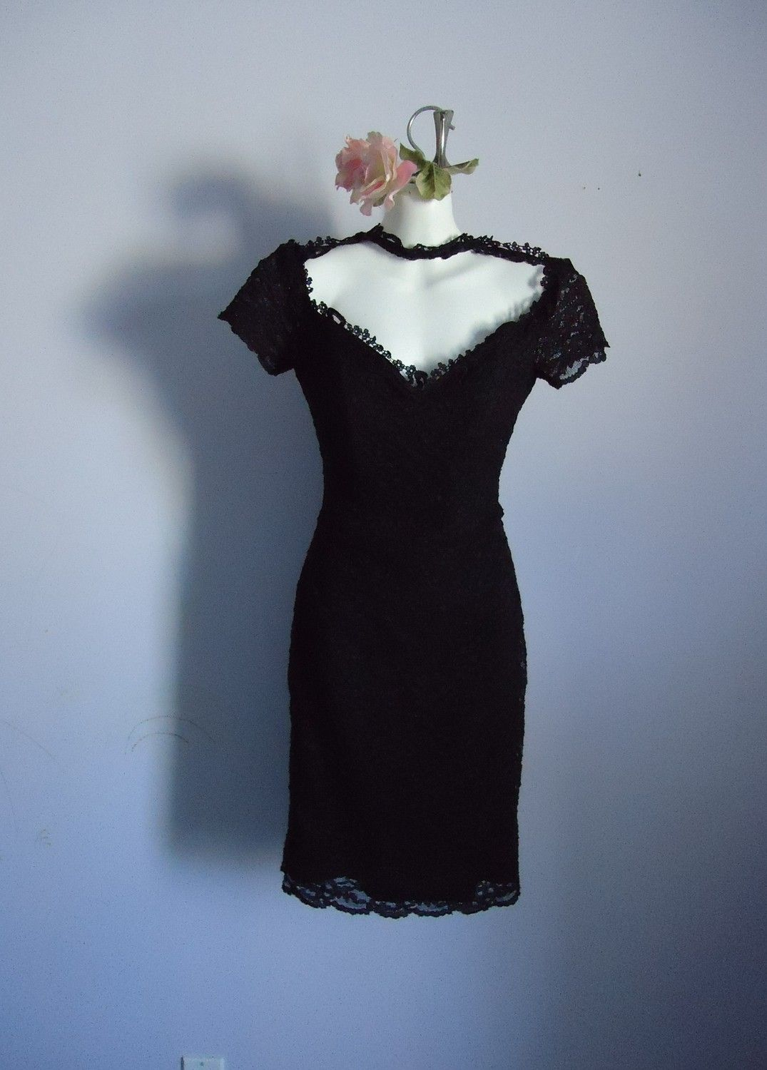 Vintage Black Lace Cocktail Dress Julia Roberts Wore The