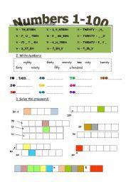 12 FREE ESL numbers 1-100 worksheets