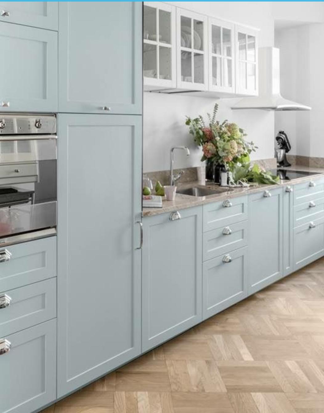 Light Blue Vibes Nice Floor In 2020 Blue Kitchen Cupboards Duck Egg Blue Kitchen Cabinets Duck Egg Blue Kitchen