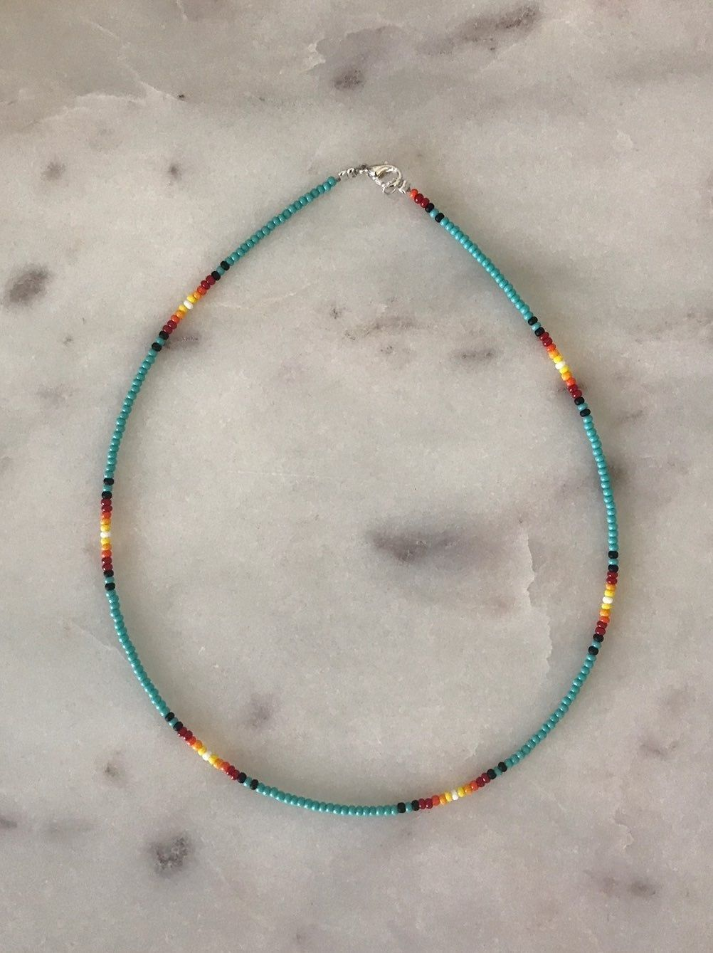 Silver Tone Turquoise Seed Bead Clasp Bracelet 8 Inches Long Simple Vintage Costume Jewelry Gift Ideas