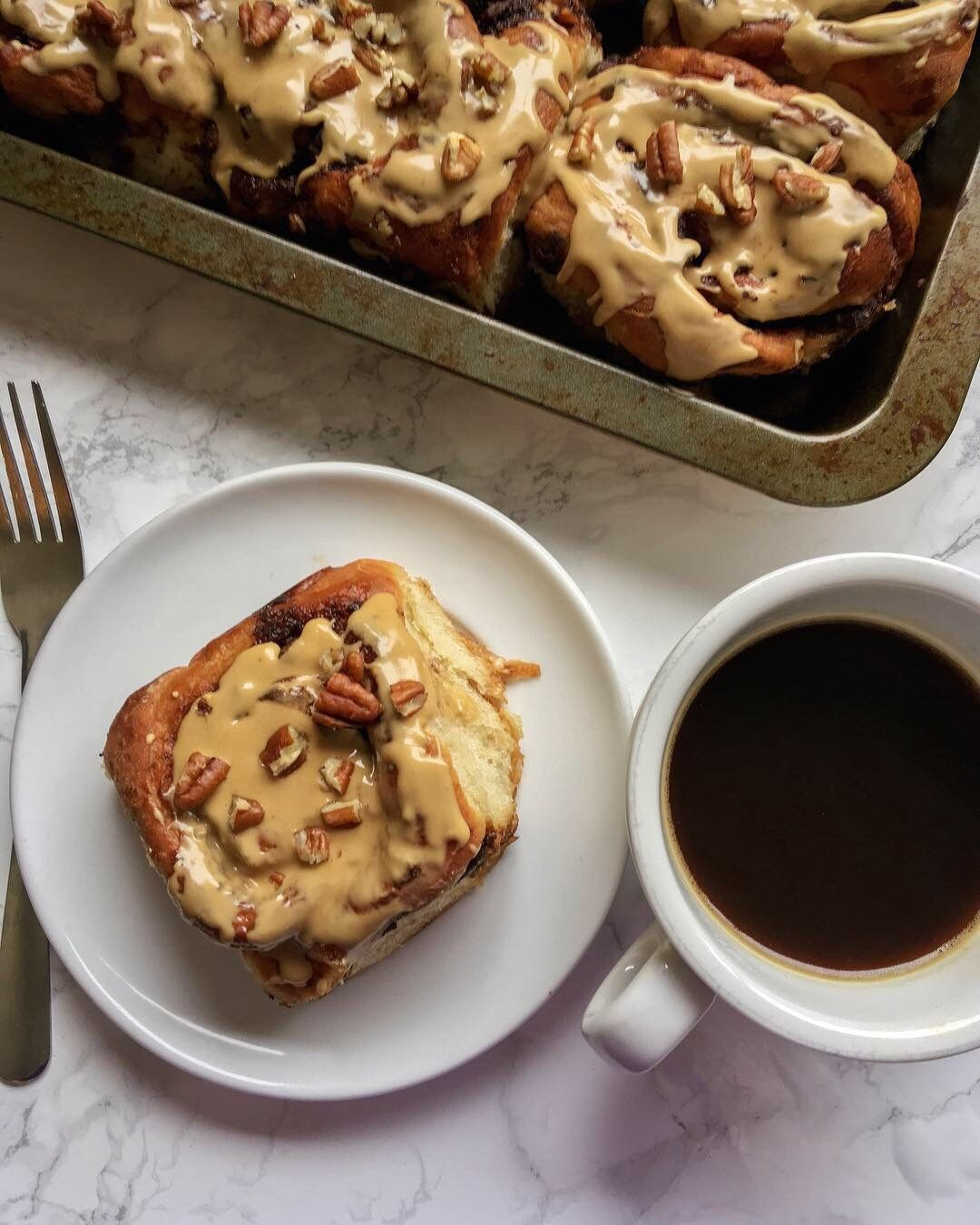 Soft, Fluffy Sticky Buns Filled With A Brown Sugar