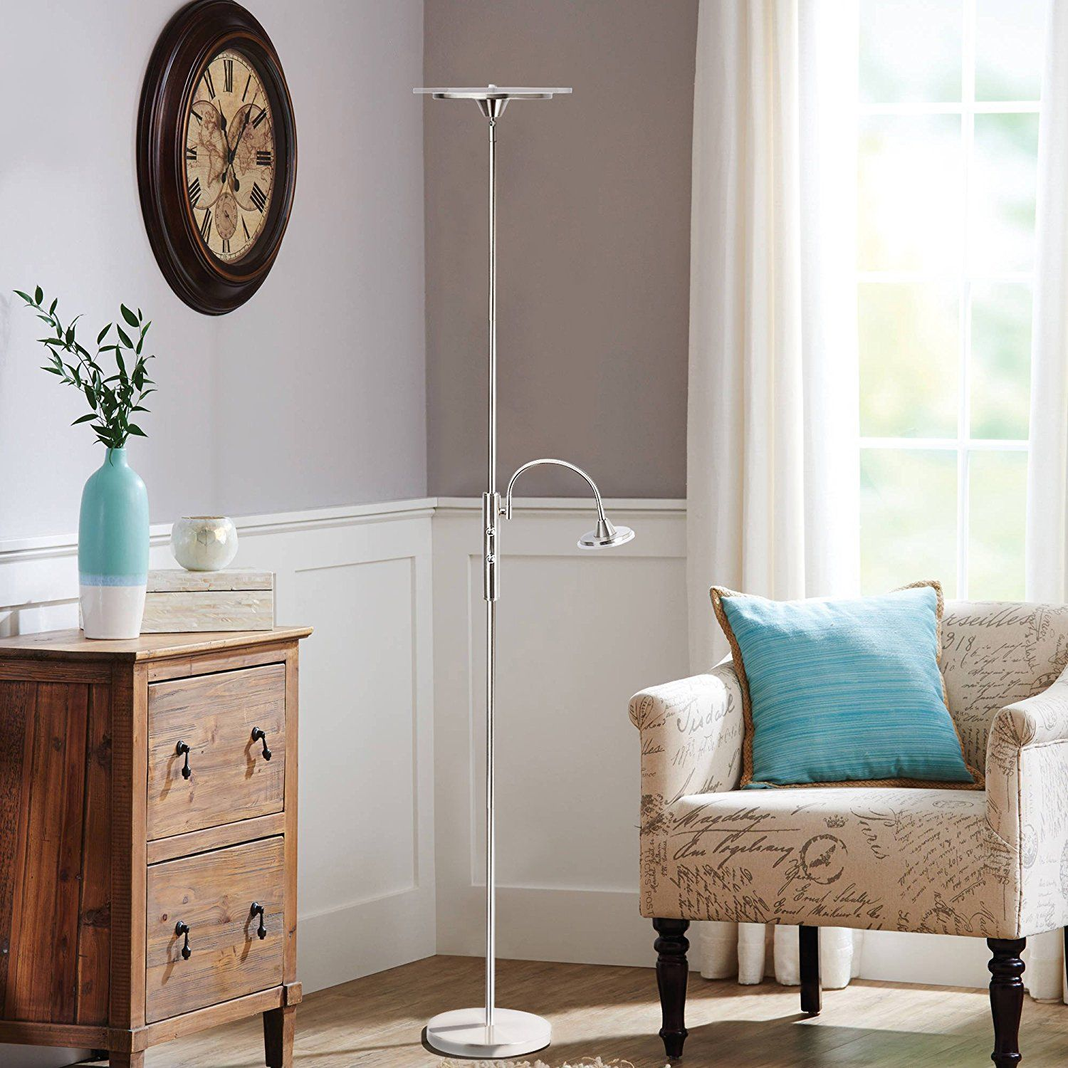 Pakfung LED Floor Lamp with Reading Light, 11 Inch 11W Dimmable