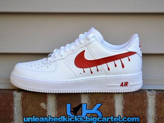 Custom Drip Nike Air Force 1s Red by UnleashedKustoms on Etsy ... 7e060c3bc9