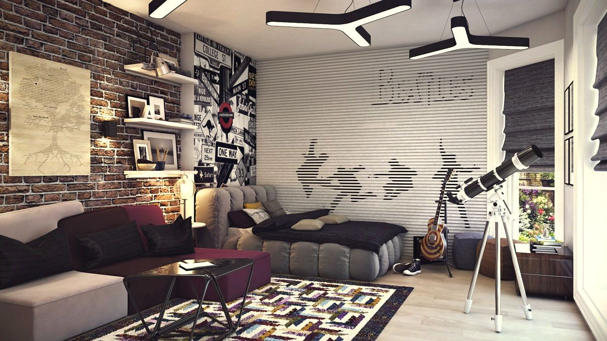 sweet home wallpaper designs. Teens Room  Cool Teenage Boys Beatles Theme With Purple Sofa Also Brick Wallpaper As Well Puffy Platform Design Ideas Terrific Young dormitorios Tumblr Home sweet home Pinterest