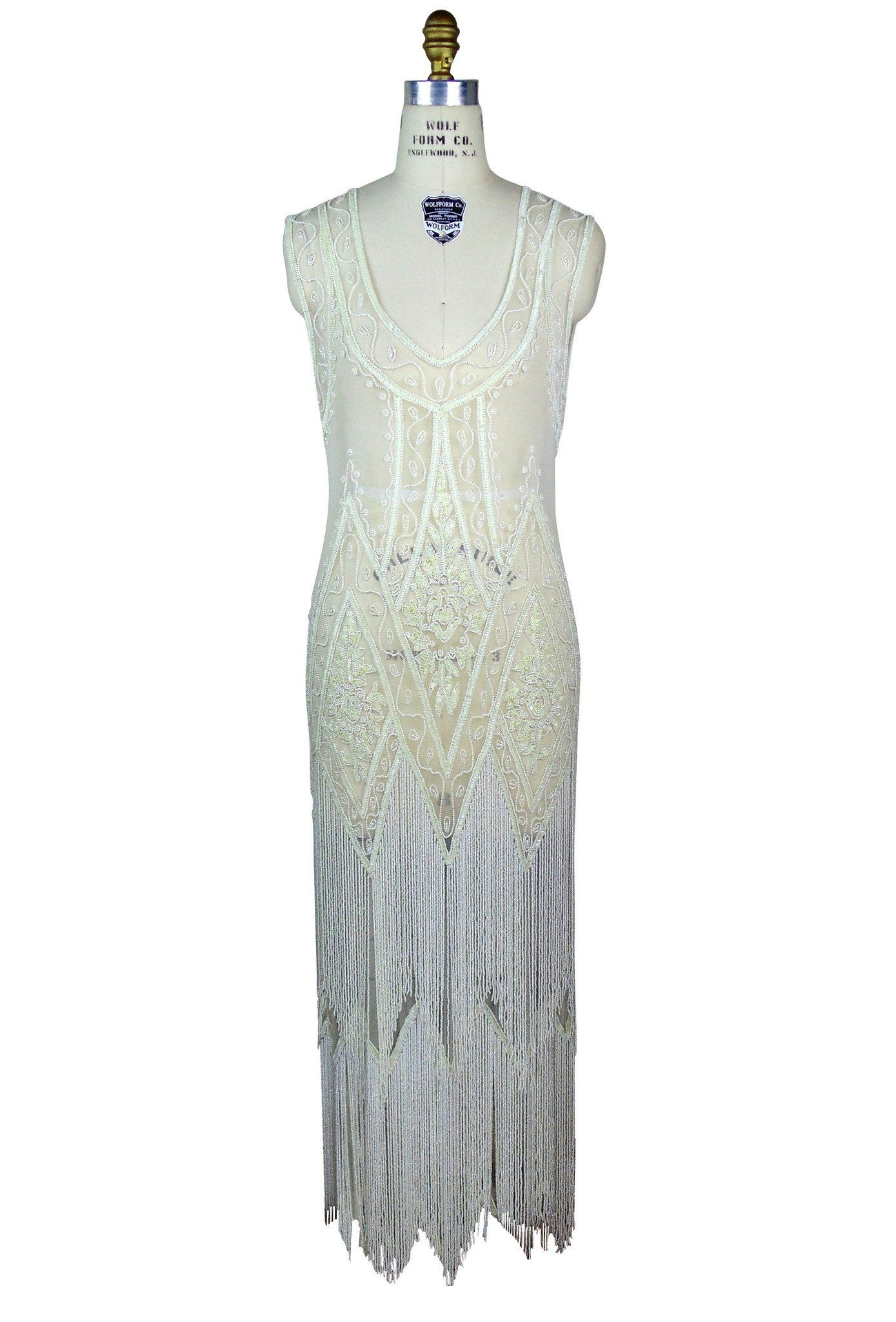 1920\'s Vintage Flapper Beaded Fringe Gatsby Gown - The Icon - Bone ...