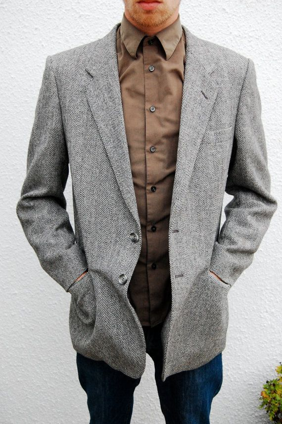 Vintage Grey Tweed 70's Blazer/Jacket