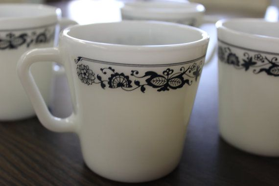 Pyrex Old Town Blue Coffee Mugs Vintage by CollectibleCorner