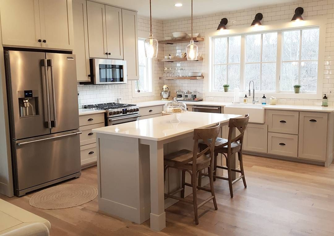 L E S L I E J On Instagram We Love Our Pretty And Functional Kitchen The Cabinets Were Made By Kitchen Layout Kitchen Designs Layout New Kitchen Cabinets