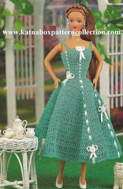 Crochet Fashion Doll Clothing Lawn Party Sundress Pattern #KC0917, Intermediate Skill Level, Crochet PDF DIGITAL Pattern #beddollsandcrocheted1112sizedolldresses