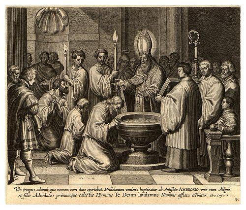 San Agustín junto a Alipio y su hijo son bautizados por el obispo Ambrosio  de Milan. | San agustin de hipona, Vida de san agustin, Agustin de hipona