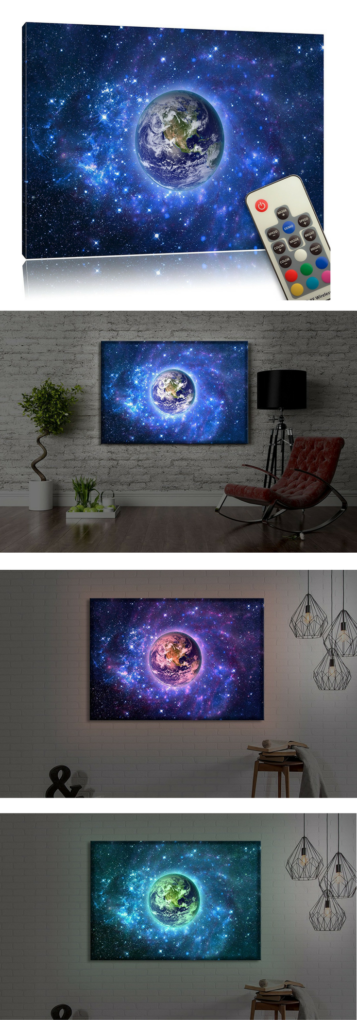Tolle Wanddekoration für ein Weltraum Kinderzimmer: LED Bild mit ...