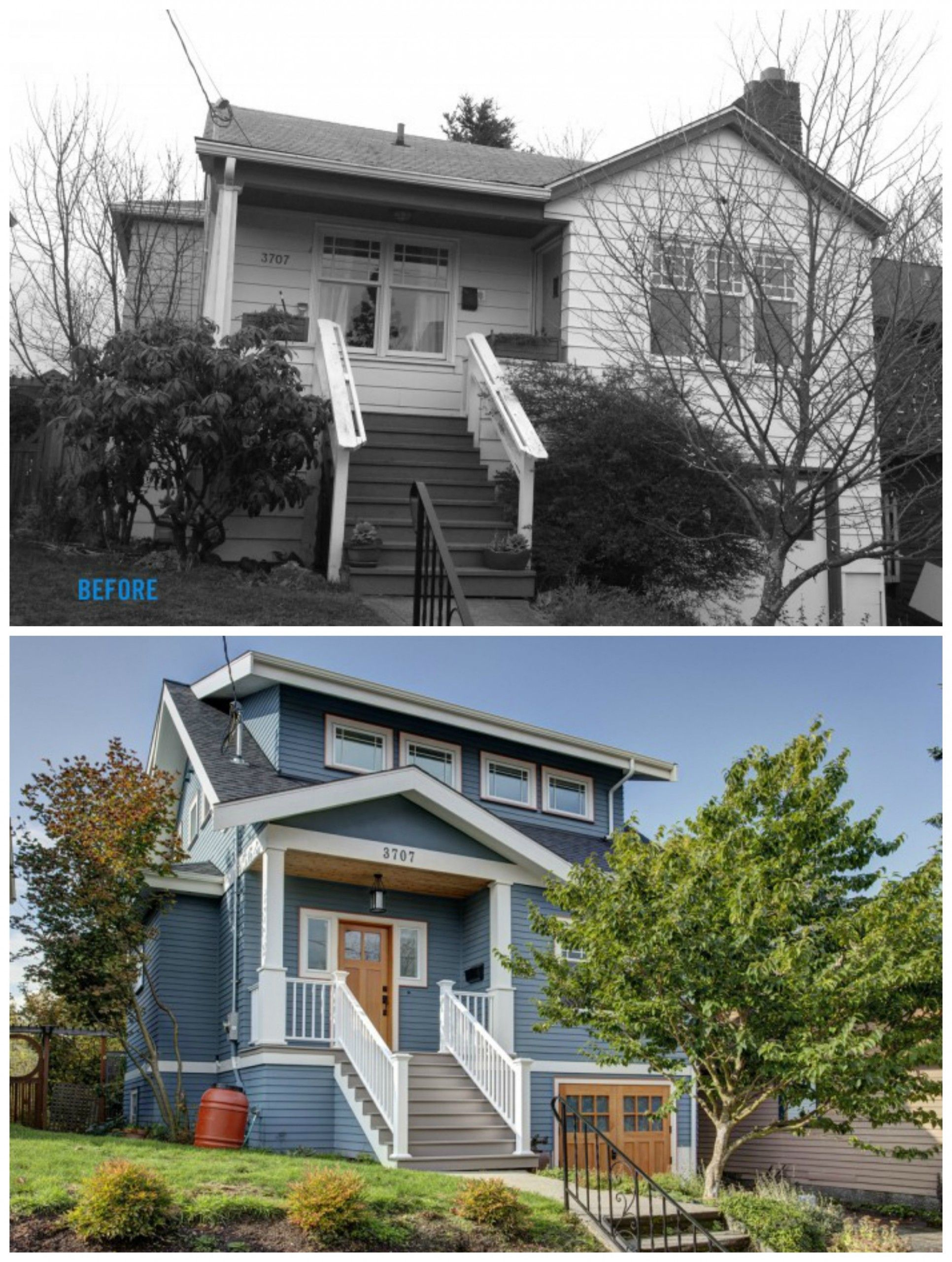 Bungalow West Second Floor Addition To A Exterior Before After