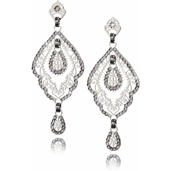 LK DESIGNS SHANTI Silver Crystal Earrings ($91) ❤ liked on Polyvore