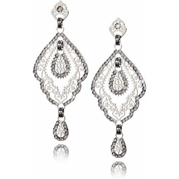 LK DESIGNS SHANTI Silver Crystal Earrings ($91) ❤ liked on Polyvore