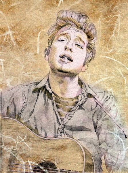 Bob Dylan-portrait of a young poet, print from original drawing, portrait art, 1960's music, rock star, folk music by workingwoman on Etsy