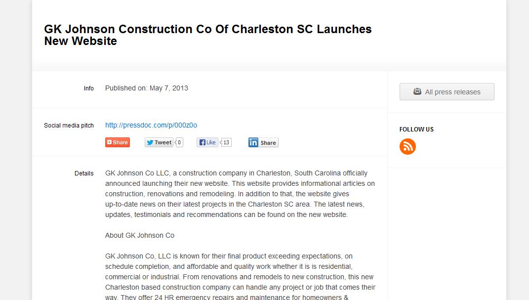 Gk Johnson Co Llc A Construction Company In Charleston South