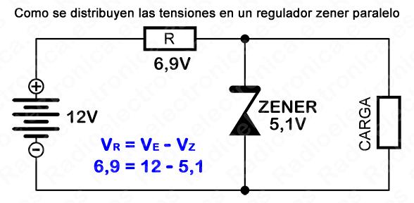 Distribución De Tensiones En Un Regulador Zener Paralelo Circuito Electrónico Diodo Regulador De Tensión