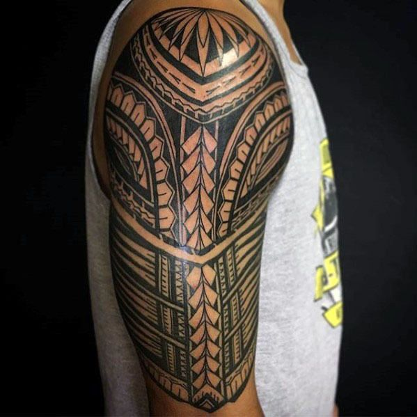 50 Polynesian Half Sleeve Tattoo Designs For Men Tribal Ideas Quarter Sleeve Tattoos Half Sleeve Tattoo Sleeve Tattoos