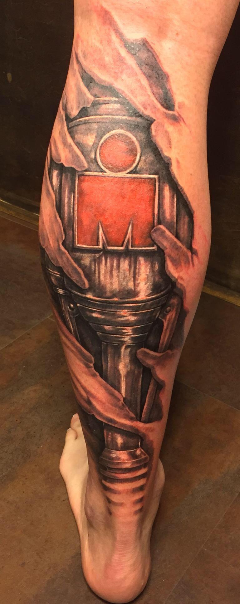 Ironman Mdot 3d Skin Rip Cyborg Biomechanical Tattoo Iron Man Tattoo Triathlon Tattoo Ironman Triathlon Tattoo