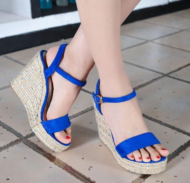 1d78a99f5ae Little Feet Small Size One Strap Peep Toe Wedge Sandals AS293 in ...