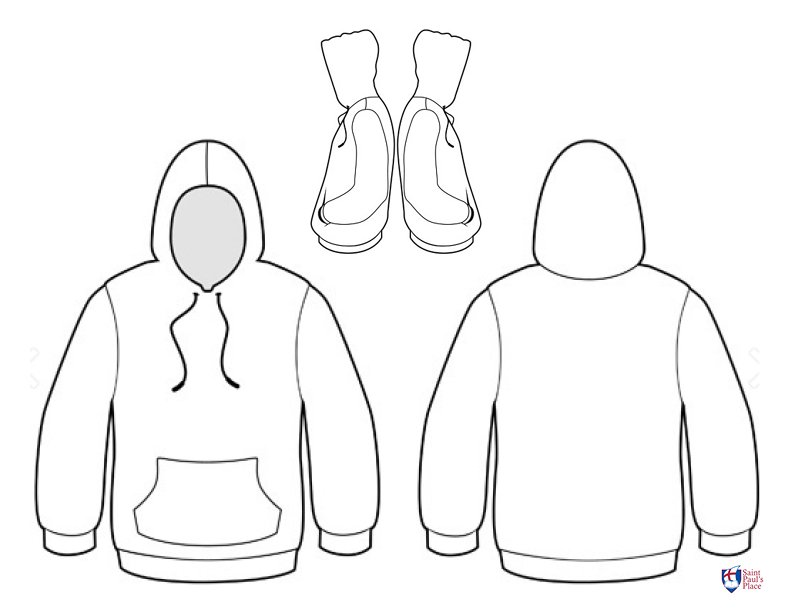 Hoodie outline for students to design their own hoodie
