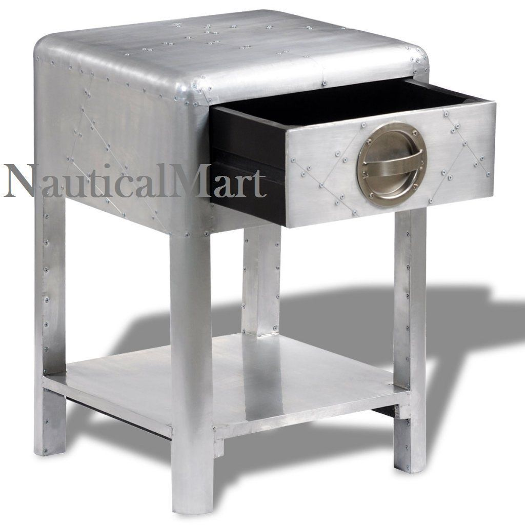 Aviator Aluminium Side Table 1 Drawer By NauticalMart: Amazon.co.uk: Garden